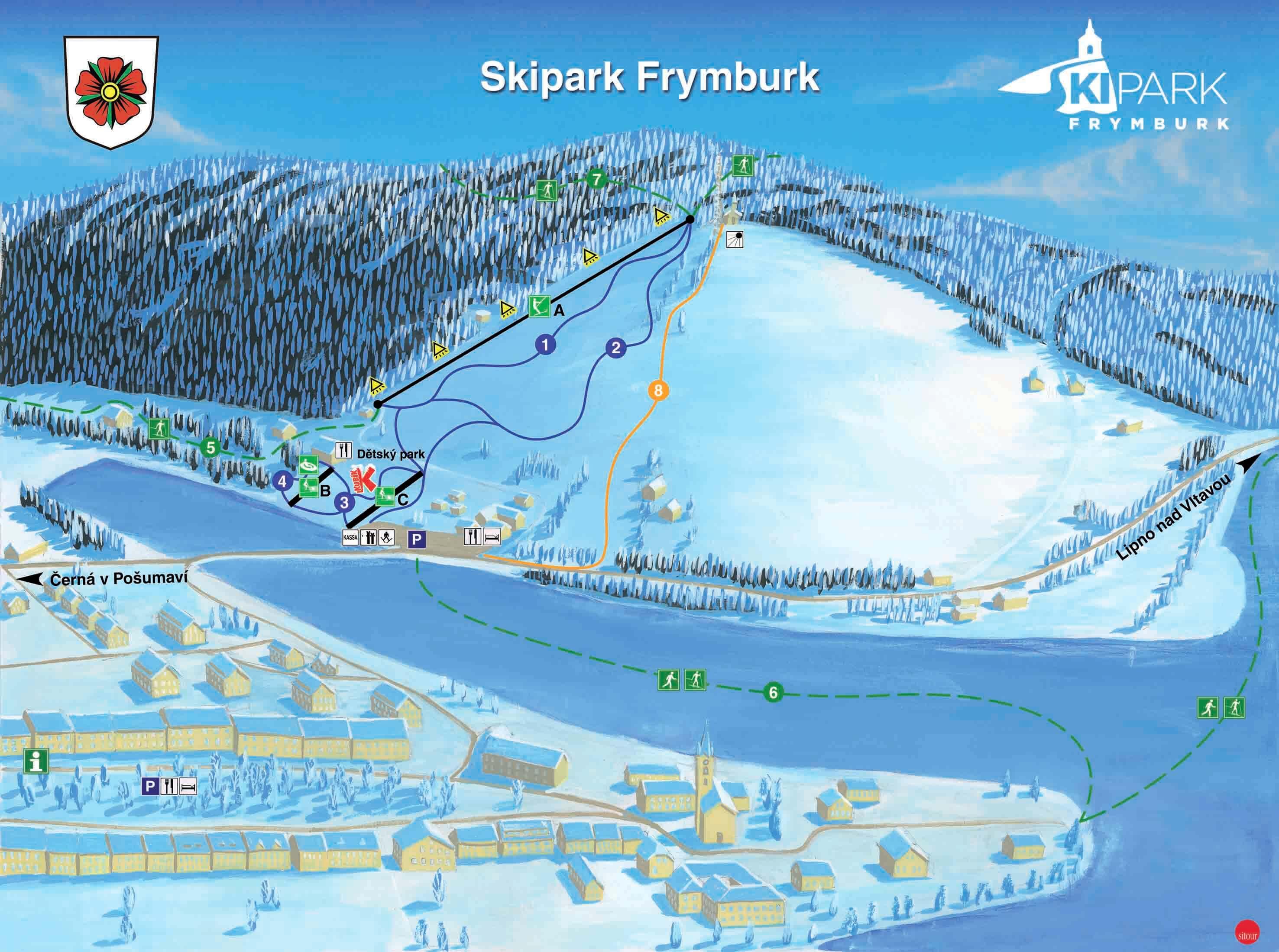 mapa skiparku Frymburk